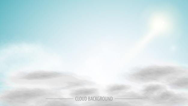 Clear sky with white clouds, vector realistic art for your creativity