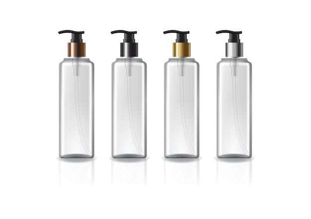 美しさ、健康的な製品のための色のポンプヘッド付きの透明な正方形の化粧品ボトル。反射の影と白い背景で隔離。パッケージデザインにすぐに使用できます。図。