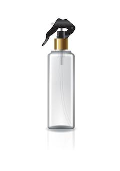 아름다움 또는 건강한 제품을 위해 스프레이 헤드와 금 반지가있는 명확한 사각형 화장품 병.