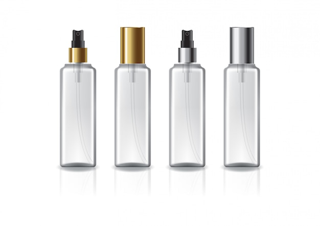 Clear square cosmetic bottle with two colors gold-silver spray head.