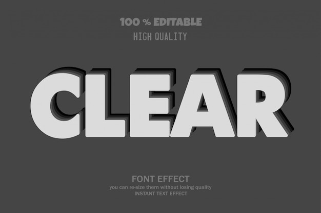 Clear text, editable font effect