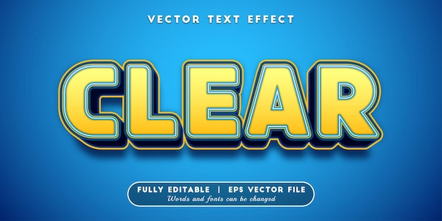 Clear text effect, editable text style