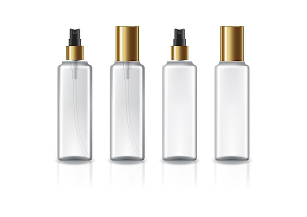 Clear and white square cosmetic bottle with gold spray head and lid for beauty or healthy product. isolated on white background with reflection shadow. ready to use for package design.