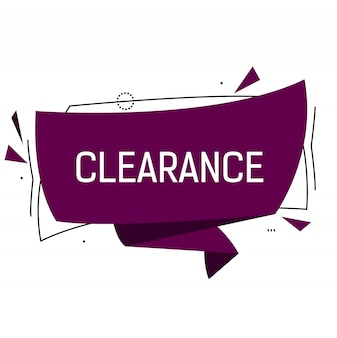 Clearance lettering in violet origami speech bubble with triangles.