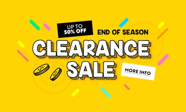 Clearance sale banner in cartoon style for digital media marketing advertising. end of season hot offer, shopping, discount card with colorful pattern, minimal design, typography. vector illustration