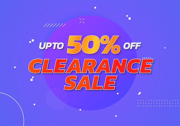 Clearance sale banner. up to 50% off online shop