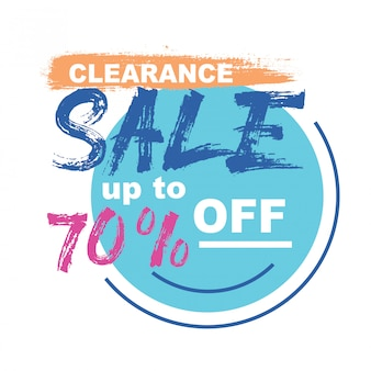 Clearance sale banner with brush font type