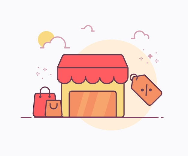 Clearance sale concept store around bag tag price icon with soft color solid line style vector design illustration