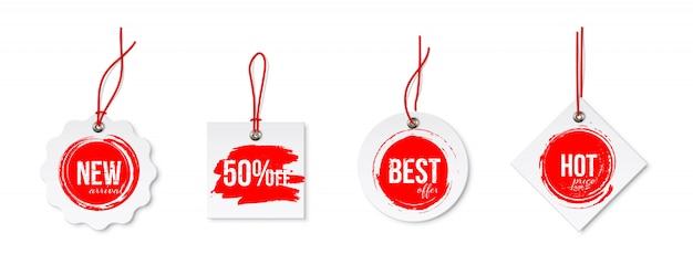 Clearance sale different tags with strings set isolated.