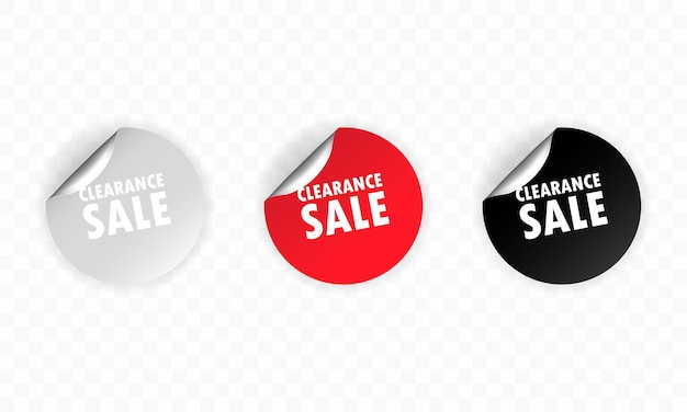 Clearance sale icon. sticker set. discount. clearance sale labels set.