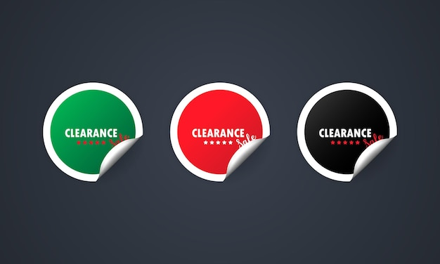 Clearance sale icon. sticker set. discount.  sale tags badges template. discount.