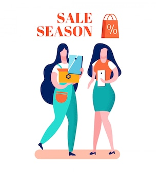 Clearance sale season cartoon vector illustration