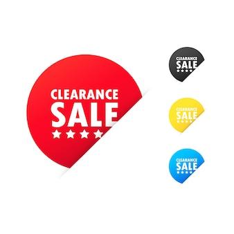 정리 판매 스티커입니다. 저렴한 가격, 할인, 판촉, 마케팅, 판매, 최대 할인, 빠른 판매 쇼핑객 아이콘. 격리 된 흰색 배경에 벡터입니다. eps 10
