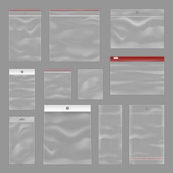 Set realistico di borse trasparenti con zip