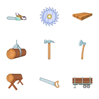 Cleaver icons set, cartoon style