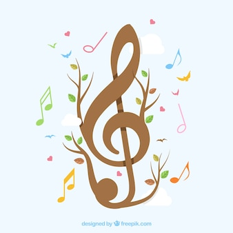 Clef background with branches and leaves