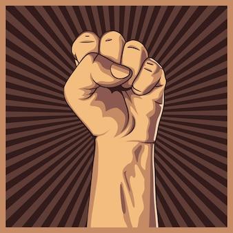 Сжатый кулак на фоне протеста