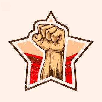 Clenched hands on star sign never surender