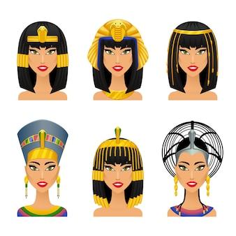Клеопатра египетская царица. женщина древняя, история и лицо, портрет нефертити, векторные иллюстрации