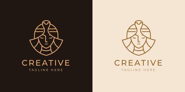 クレオパトラ クイーン ラインのロゴのデザイン テンプレート