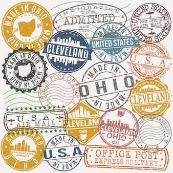 Cleveland ohio set of travel and business stamp designs