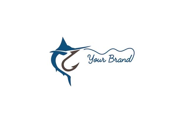 釣りスポーツクラブのロゴデザインベクトルのフックで巧妙なジャンプカジキまたはメカジキ