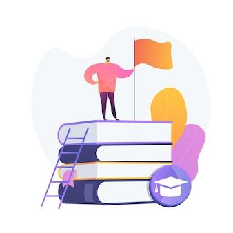 영리한 사람, 플래그와 함께 책 스택에 서있는 학생. 자기 학습, 개인 향상, 지식 획득. 교육적 성취.