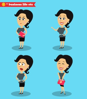 Clever office girl standing set