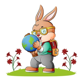 The clever rabbit is holding a globe of illustration