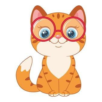 안경을 쓴 영리한 빨간 고양이