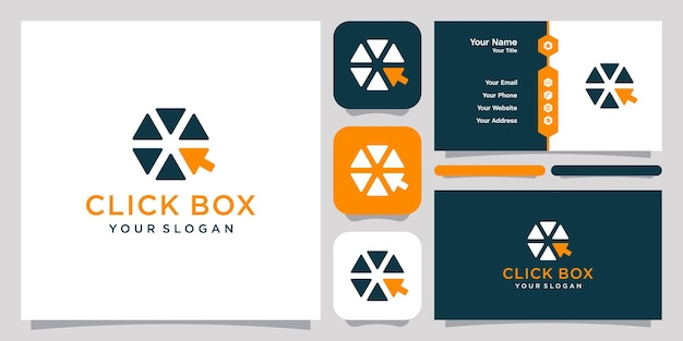 Click box hexagon logo icon symbol template logo and business card