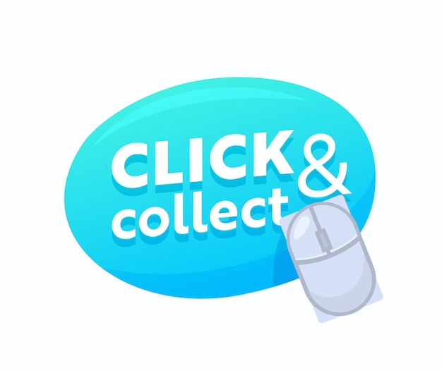 Click and collect blue bubble with computer mouse for online shopping and goods ordering service. internet purchase button for mobile application design isolated label, emblem. vector illustration