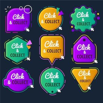 Fare clic e raccogliere la raccolta di pulsanti