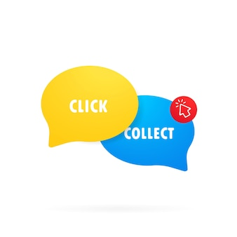 Click and collect icon. clipart image in flat style. buy online pick up at store. e-commerce and omni-channel concept. online shopping. vector illustration.