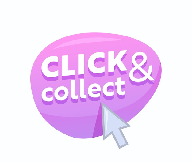 Click and collect pink bubble with arrow pointer isolated on white background. online shopping and goods ordering service emblem, internet purchase, button for mobile application. vector illustration