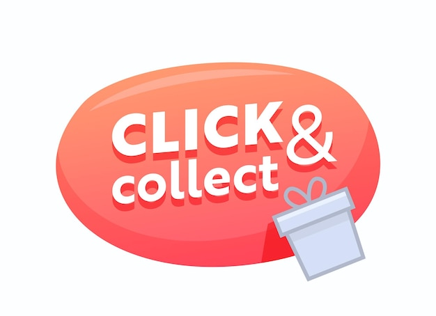Click and collect red bubble with gift box. give away promo, online shopping and goods ordering service. internet purchase, button for mobile application, cash back or grab and go. vector illustration