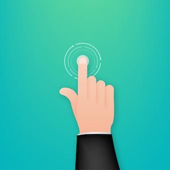 Click hand in flat style illustration