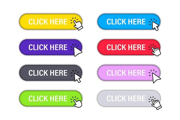 클릭 커서가 있는 여기 버튼을 클릭하십시오. 버튼 웹사이트 디자인을 위해 설정합니다. 버튼을 클릭합니다. 마우스 클릭 기호가 있는 최신 작업 버튼입니다. 컴퓨터 마우스 클릭 커서 또는 손 포인터 기호