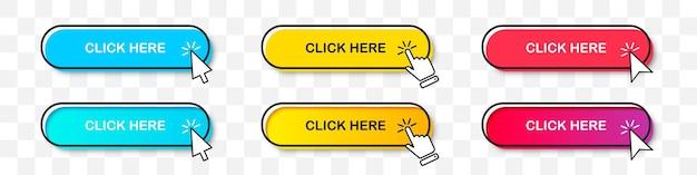 두 가지 스타일의 커서 포인터가 있는 여기 단추 컬렉션을 클릭하십시오. 그림자가 있는 평면 디자인 및 그라디언트. 투명 한 배경에 디지털 웹 버튼 세트
