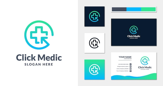 Click medical logo with linear style and business card template