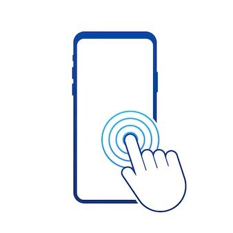 Click smartphone. empty screen, phone mockup. device mockup. cursor icon vector. hand pointer vector stock illustration