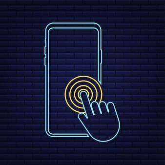 Нажмите смартфон. пустой экран. макет телефона. неоновый макет устройства. вектор значок курсора.