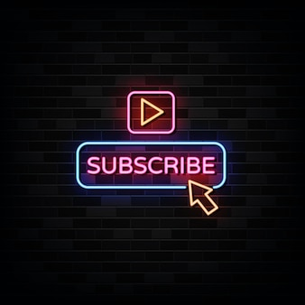 Click subscribe neon signs. design template neon style