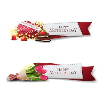 Clickable mother's day banner for website in the form of ribbons