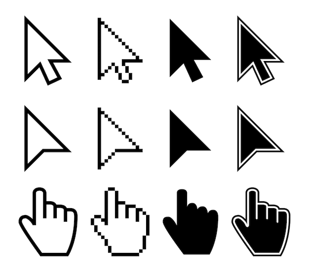 Clicking mouse cursors, computer finger pointers vector set