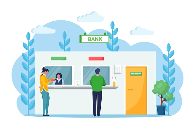Client and cashier behind cash department window in bank