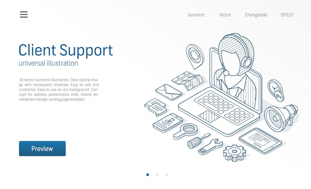 Client, customer support center, contact us isometric line illustration. call service, help desk, business communicate technology sketch drawn icons. operator web connect concept
