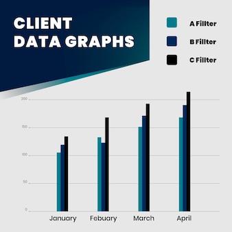 Client data graphs square template design
