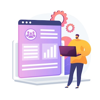 Client database analysis. marketing strategy, crm planning, target audience research. expert, analyst studying end user preferences, profiles. vector isolated concept metaphor illustration