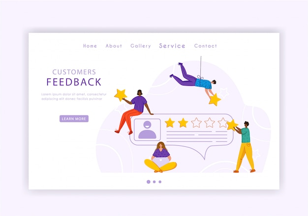 Client feedback concept landing page, miniature tiny people and rating stars, web banner with place for text